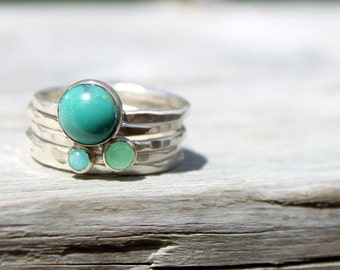 Sterling Silver Stack Ring-Gemstone Stacking Ring-Hammered Stacking Set of 5-Turquoise Ring, Amazonite Ring, Chrysoprase Ring-Blue Aqua Ring