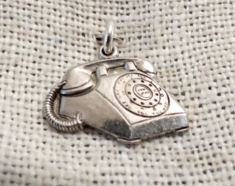 Detailed Rotary Telephone Sterling Charm