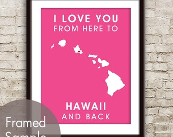 Hawaii Poster Print Map Wall Art - Unframed (featured in Hot Pink) / I Love You From Here to Hawaii and Back-Custom Colors
