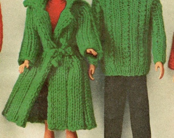 Barbie doll knitting pattern, barbie clothes, dolls clothes, vintage knitting pattern, ken clothes, printable pdf instant download 1960s