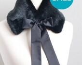 SALE 10% OFF Black faux fur collar. Fake fur collar. Faux fur neck warmer