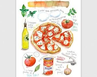 Pizza, Recette illustrée, Aquarelle, décoration cuisine, affiche cuisine, art culinaire, Cuisine italienne, décor cuisine, Poster Italie