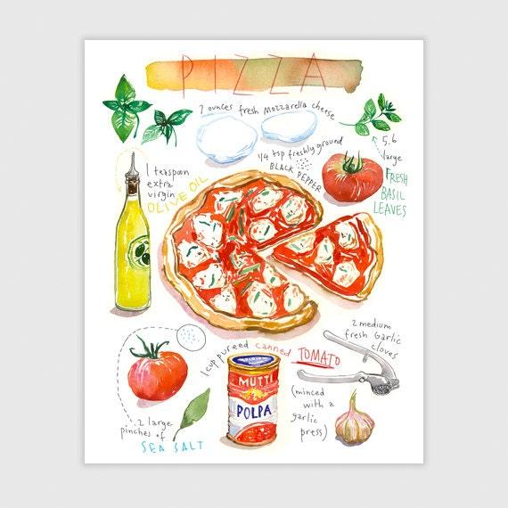 pizza recette illustr e aquarelle d coration cuisine. Black Bedroom Furniture Sets. Home Design Ideas