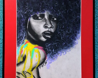 Afro Wall Art | Black Girl Magic | African American Art | Charcoal | Original Art | Wall Art | Caribbean Art | Black Owned Shops | Afro Art
