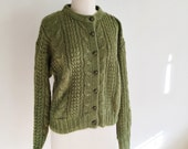 1980s FORENZA Aspen Sage Mohair Cable-knit Cardigan Sweater