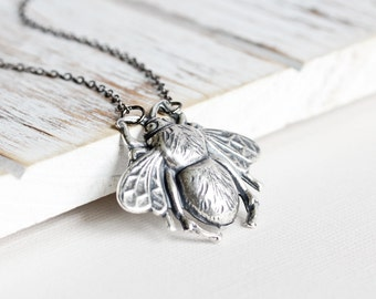 Bee Pendant Necklace - Antiqued Silver Plated Honey Bee Necklace with Gunmetal Chain, Two Tone, Bumble Bee Jewelry, Insect Jewelry