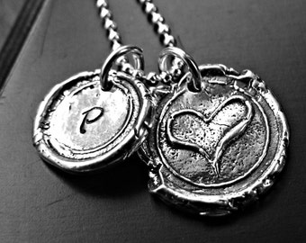 Personalized Wax Seal Initial Necklace - Custom Heart Initial Charm - Love Couples Necklace - Rustic Fine Silver Charm Necklace
