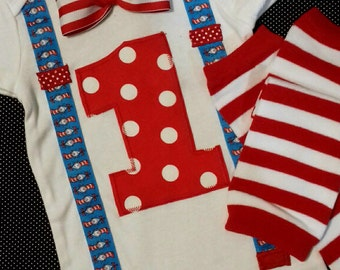 1st birthday boy outfit, bow tie and suspenders, Dr Seuss birthday, boys birthday shirt, birthday photo props