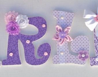 Lavender, purple wall letters, nursery letters, decorative letters, Embellished Nursery Letters