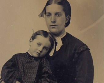 Adorable Little Girl RESTING Her HEAD On Her MOTHER'S Shoulder Tintype Photo circa 1880s
