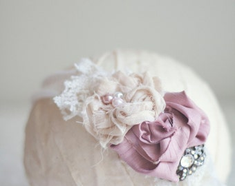 Vintage Beauty - Off White Knit Headband with Rose and Cream Accents - Photography Prop