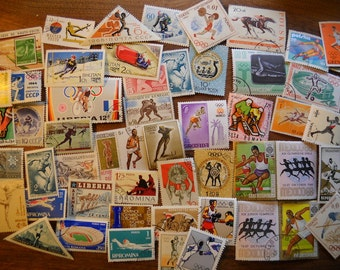 50 Used Vintage SPORTS Olympics Postage Stamps for crafting collage altered art journals scrapbooks philately commemorative stamps 15A