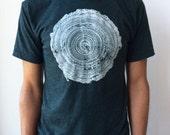 Tree Rings T-Shirt Heather Black Aqua Mens/Unisex