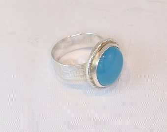 Blue Chalcedony Ring in Sterling Silver, Hndcrafted, Size 7.5