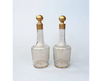 Mid Century Gold Squiggle Decanters / A Pair