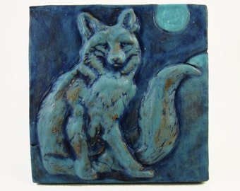Ceramic Art Tile, WOLF - Turquoise,  Wall Art, 4 x 4 Handmade Tile