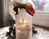 Christian, religious, wine decor, decorated bottles, wine bottle light, wine bottle lamps, wine bottle lights, lighted bottles, lighted wine