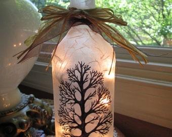 Bare Tree Wine Bottle Lamp, bare tree, bare trees, lighted bottles, lighted wine bottles, wine bottle lamps, decorated wine bottles, lamps