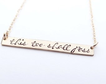 Hand Stamped Bar Necklace. Thin Large Gold Long Bar with This too shall pass. Christian Jewelry.