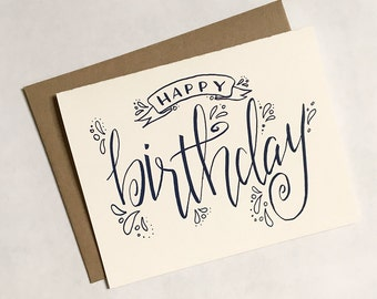 SALE - Happy Birthday Greeting Card, Calligraphy, Hand Written
