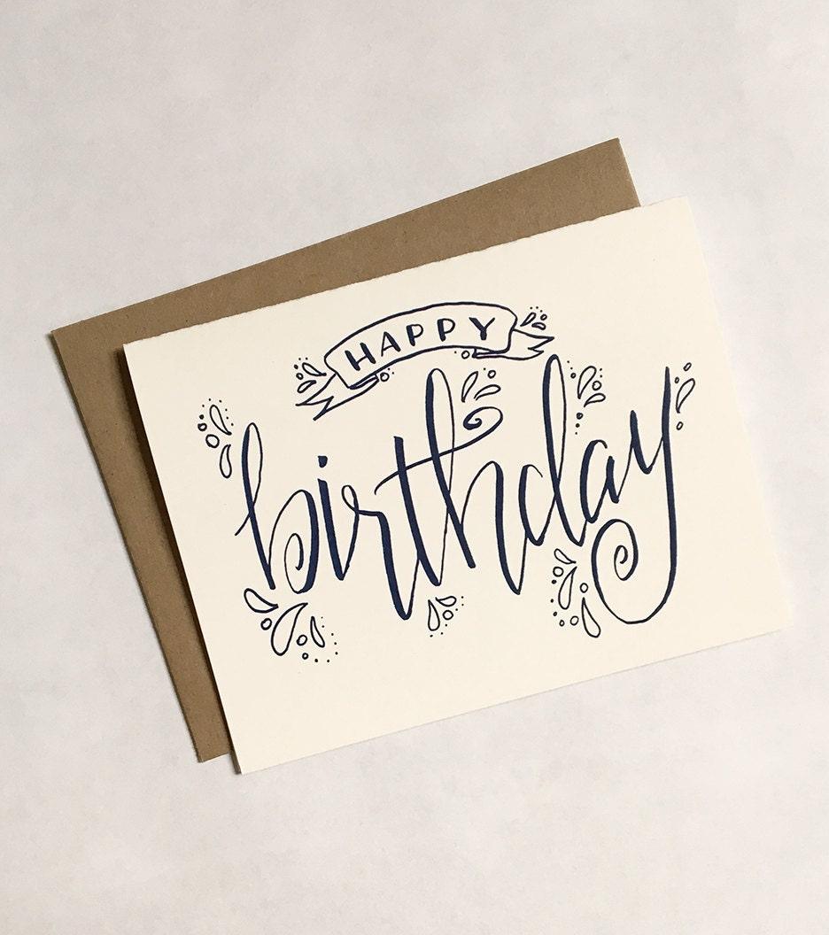 SALE Happy Birthday Greeting Card Calligraphy Hand Written