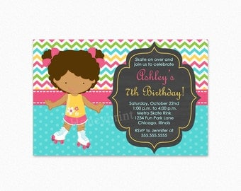 Roller Skating Birthday Party Invitation, African American Girl, Pink, Green, Blue, Personalized, Printable and Printed