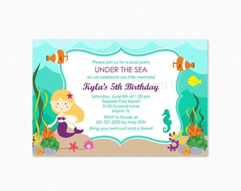 Mermaid Birthday Party Invitation, Under the Sea Birthday Party Invitation 2, Mermaid Invitation, Different Skin Tones Available, Printable