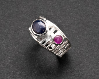 Blue Sapphire Ring, Geometric 925 Silver Wide Band Sapphire and Ruby Gemstone Cocktail Ring, Birthstone Ring, Sapphire Jewelry Gift for Her