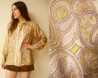 1970's Vintage Paisley Print Pointy Collar Shirt Top Size M/L
