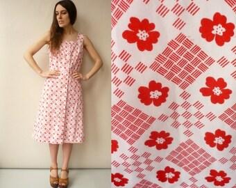 SALE 1970's Vintage Floral Print Folk Day Dress Size Medium