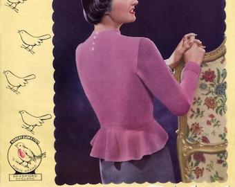 Gorgeous 1950s Peplum Jumper Sleek and Stylish 36 to 38 Bust Robin 325 Ladies Vintage Knitting Pattern Download