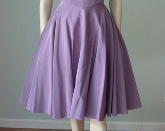 1950s Lavender Rayon Faille Halter Dress with Beaded and Sequined Strap // Ruched Bust // Full Skirt - Small
