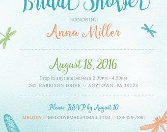 Dragonfly Spring / Summer Bridal Shower Invitation