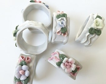 6 Vintage China Napkin Rings Pastel China Flower Napkin Rings Shabby Cottage Chic Table Setting