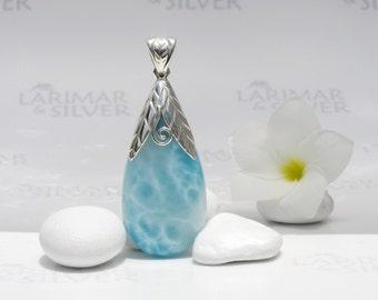 Larimarandsilver pendant, Tinkerbelle Treasure - aquamarine Larimar drop, water blue, turtleback, crystal water, handcrafted Larimar pendant