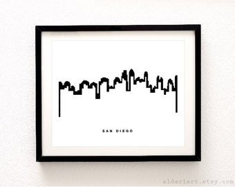 San Diego Skyline - Cityscape Print - San Diego Wall Art - San Diego Skyline Print - Modern Black and White Decor - Aldari Art