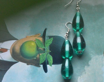 Spring Drop earrings - Teal blue double teardrop Funky Glass dangle Earrings