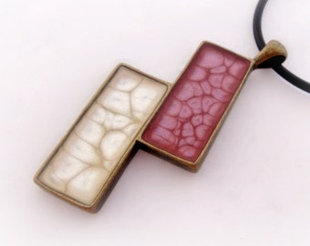White and pink honeycomb rectangular pendant, antique gold geometric necklace, resin jewelry