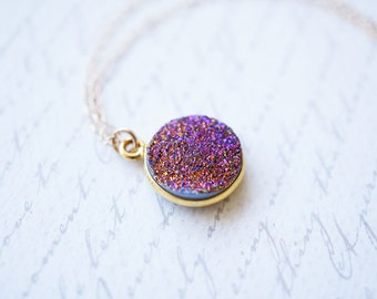Necklace, Gold Necklace, Druzy Necklace, Purple Necklace, Crystal Necklace, Mystic Purple, Natural Crystal, Handmade Necklace, Gift for Her