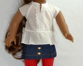 "Peplum Shirt & Mini Skirt Outfit:  For 18"" Dolls Such As American Girl, My Life As (Walmart), Our Generation (Target) And Others"