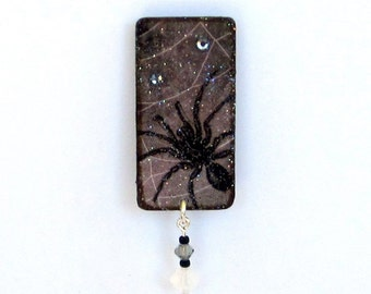 Halloween Lapel Pin Spider Pin Spiderweb Cobweb Spooky Jewelry Goth Brooch Black Gray Gothic