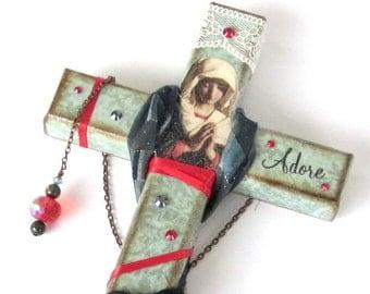 Decoupaged Wall Cross Decorated Crucifix Pale Aqua Red Virgin Mary Madonna Catholic Art Christian Art Mixed Media Religious Gift