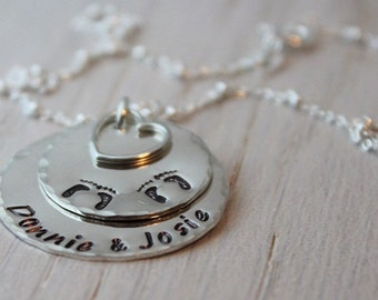 twins necklace, mothers necklace, foot print necklace, stamped name discs, hand stamped jewelry, push present, new mom gift
