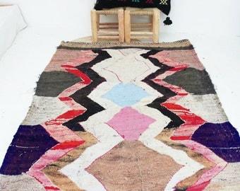 "Vintage Moroccan Kilim - BOUCHEROUITE Rug  ""diamonds"""
