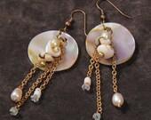 Tropics earrings: shell, pearl, Swarovski crystal, prehnite, bronze chain
