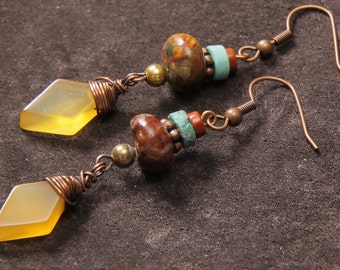 Indian Summer earrings: red creek jasper, turquoise, red jasper, wire wrapped yellow chalcedony, copper, brass