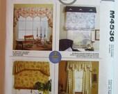 Home Decorating Window Treatments Valances Pattern Sewing UNCUT McCalls M4536