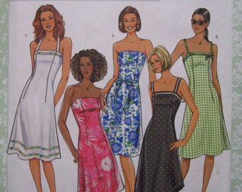 Misses Close-fitting Dress with Halter Straps or Strapless Sizes 12 14 16 UNCUT Butterick Pattern B4183