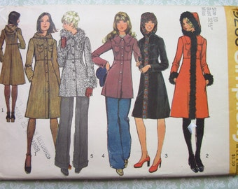 Misses Lined Coat with or without Hood in Two Lengths Size 10 Bust 32.5 UNCUT Simplicity Pattern 5255 Vintage 1970's