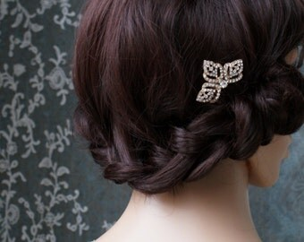 Art deco Comb in Rose Gold - 1920s Bridal headpiece - Wedding Hair Accessory - 1930s Hair Comb